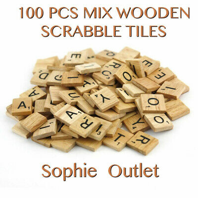 200* Wooden Letters Alphabet Scrabble Tiles Letters & Numbers For Game &Crafts