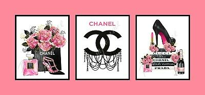 Coco Chanel Fashion Prints Logo Perfume Wall Art Home Decor Gift Bedroom x3 A5
