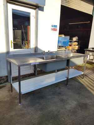 Stainless Steel Banqueting/Food Production Sink Double Large Bowls (2440mm Wide)