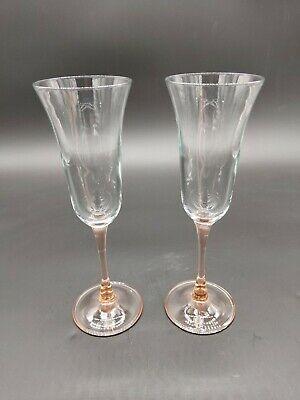 Vintage Wedding Champagne Glass Flutes Two Tone Amber Pink Clear 9 inch tall