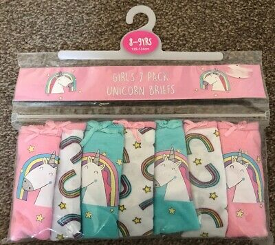 Girls 7 Pack Unicorn Briefs Knickers Age 8-9 Years New Unicorn Gift Present