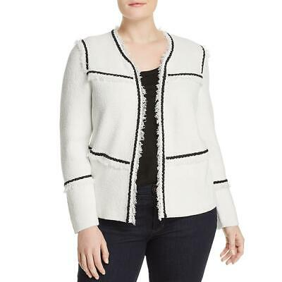 Nic + Zoe Womens First Class Fringe-Trim Cardigan Sweater Jacket Plus BHFO 3011