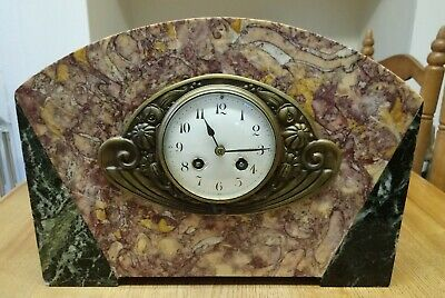 French Marble 8 Day Art Deco Chiming Clock