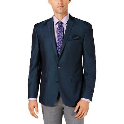 Bar III Mens Blue Slim Fit Double Vent Two-Button Blazer Jacket 38S BHFO 6553