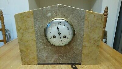 Art Deco French Marble 8 Day Chiming Clock