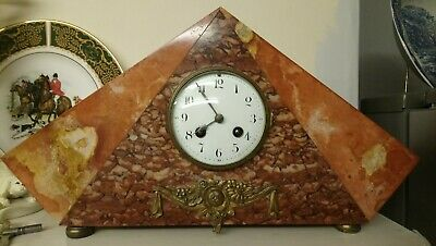 Beautiful Art Deco French 8 Day Marble Chiming Clock. Statement Piece