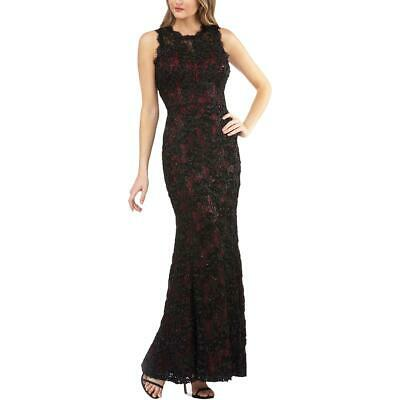 JS Collections Womens Navy Lace Faux-Wrap Formal Evening Dress Gown 6 BHFO 0370