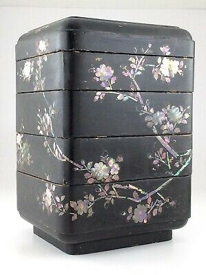 Paper Mache Lacquered Inlaid Mother of Pearl Oriental Stacked Jewelry Box M743