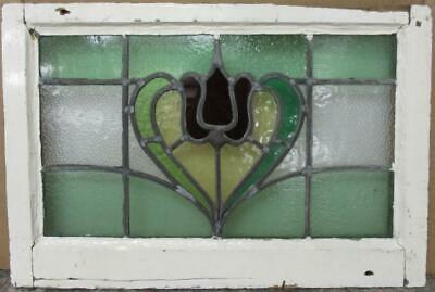 "MIDSIZE OLD ENGLISH LEADED STAINED GLASS WINDOW Nice Floral Heart 24.5"" x 16.5"""