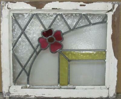 "OLD ENGLISH LEADED STAINED GLASS WINDOW Fun Floral & Diamond Lead 21.75"" x 18"""