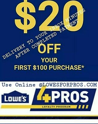 2x LOWES 20 off 100 CouponCode exp 4/11 PRINTABLE  INSTORE ONLINE @LOWESFORPROS