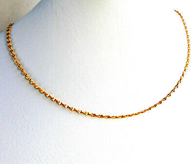 Small Short 24K Yellow Gold Plated Beauty Chain Necklace 35cm Spring Ring Choker