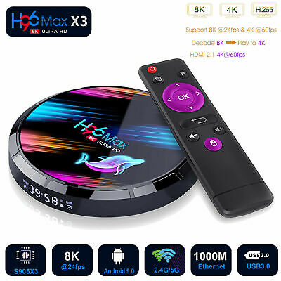 H96 Max X3 8K TV Box Android 9 Amlogic S905X3 4GB+128GB LCD 5G WIFI BT Streamer