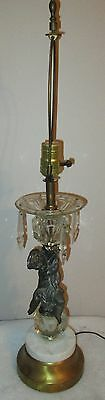 Antique Bronze Cherub & Crystal Table Lamp with Bronze & Marble Base