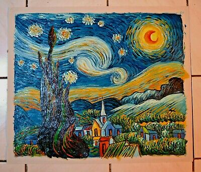 """Van Gogh 1889 Starry Night Hand Painted Repro 24"""" Oil Painting Deco Art Gift A13"""