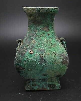 Chinese Han Dynasty Bronze Small Fine Fanghu Vase 汉方壶瓶
