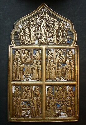 Ancient Bronze Orthodox Icon. Different Icons With The Virgin 18-19 Cent.(R.128)