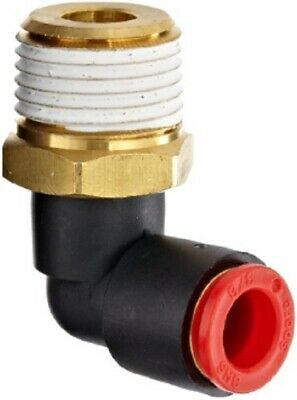 """SMC KQL11-34S KQ One Touch Male Elbow Pneumatic Air Fitting, 3/8"""", Pack of 10"""