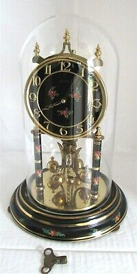 Excellent Vintage Kundo Torsion, 400 Day, Anniversary Clock & Glass Dome