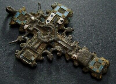 ANCIENT BRONZE CROSS RARE. RELIGIOUS ARTIFACT 17 - 18 CENTURY. 56 mm. (F.092)
