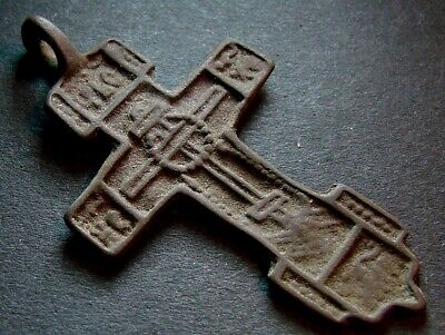 ANCIENT BIG BRONZE CROSS. RELIGIOUS ARTIFACT 15 - 16 CENTURY. 48 mm. (R.032)