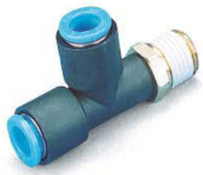 """SMC KQY10-03S KQ Air Fitting, Male Run Tee, 10mm Tube, 3/8"""", Pack of 10"""