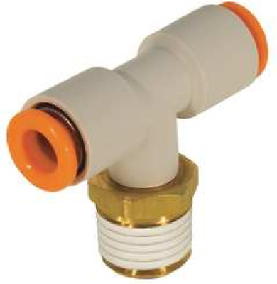 """SMC KQ2T11-36S KQ2 Air Fitting, Male Branch Tee, 3/8"""", 3/8"""" Thread, Pack of 10"""