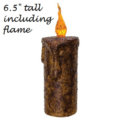 "Primitive Burnt MUSTARD FLICKER PILLAR CANDLE 6.5"" Tall TIMER Grungy LED Rustic"
