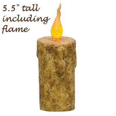 "Primitive Burnt IVORY FLICKER CANDLE 5.5"" Tall Battery Op TIMER Grungy LED"