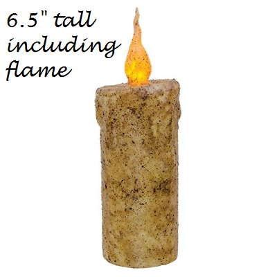 "Primitive Burnt IVORY FLICKER CANDLE 6.5"" Tall Battery Op TIMER Grungy LED"
