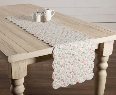 "FARMHOUSE FLORAL CAROL QUILTED TABLE RUNNER 48"" L Cottage Chic Scalloped Border"