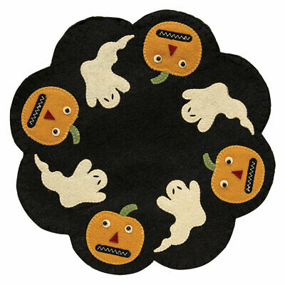"PUMPKINS GHOSTS CANDLE MAT HALLOWEEN Doily Primitive Folk Art Felt 12"" Dia"