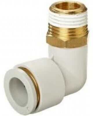 """SMC KQ2L07-36S KQ2 Series Pneumatic Fitting, Male Elbow, 1/4"""", 3/8"""", Pack of 10"""