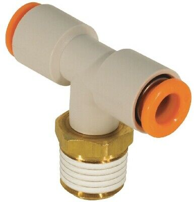 """SMC KQ2T07-36S Air Fitting, Male Branch Tee, 1/4"""" Tube, 3/8"""" Thread, Pack of 10"""