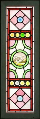 "VICTORIAN ENGLISH LEAD STAINED GLASS WINDOW HP Bird & Bullseyes 12.75"" x 38.75"""