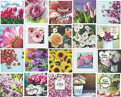 30 Floral Birthdays Blank & Just for You Greeting Card Assortment Multi Pack
