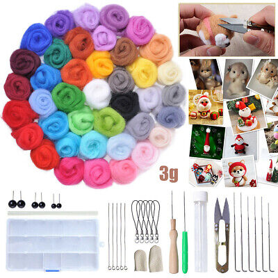 40 Colours Wool Felt Needles Tool Set + Needle Felting Mat Starter DIY Kit