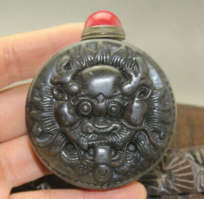 Chinese Exquisite master hand carved Dragon old jade snuff bottle u334