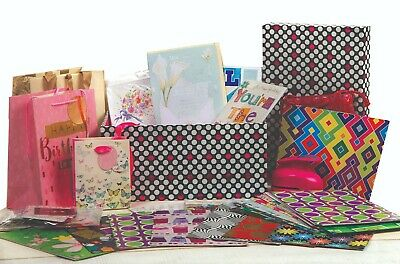 80 Greeting / Birthdays Cards 30 Wrapping Paper & Bows + Extras in Storage Box