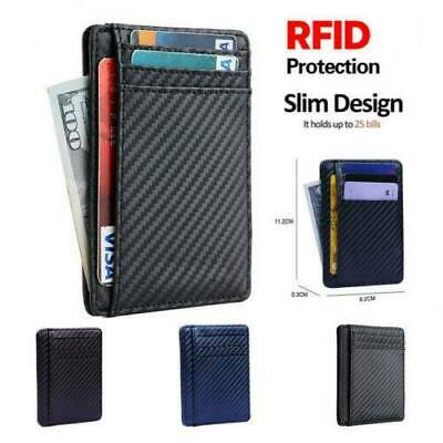 Mens RFID Blocking Leather Slim Wallet Money Clip Credit Card Holder Billfold US