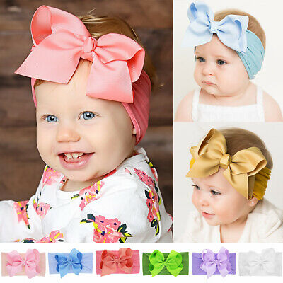 Knotted Bowknot Turban Nylon Headband Girls Hair Band Newborn Baby Hairband