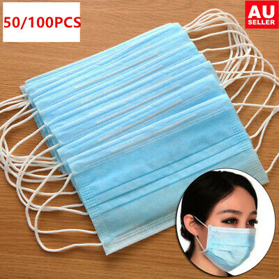 50/100x Disposable Medical Mouth Face Dust Mask Ear Loop Clinic Dental Surgical