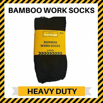6 Pairs Premium Bamboo Work Socks Heavy Duty Thick Mens Black Size 6-11 11-14
