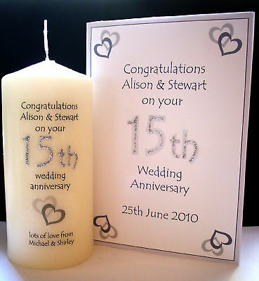 personalised 15th 20th wedding anniversary candle gift couple husband wife etc