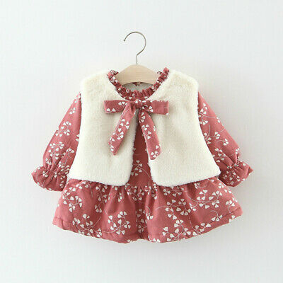 Toddler Kids Baby Girls Waistcoat Dress Outfit Lined Sherpa Ruffle Floral