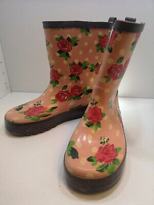 Tesco Kids Rose Print Welly Boots - Kids Size 12 - Pink Floral Wellies Pre-owned