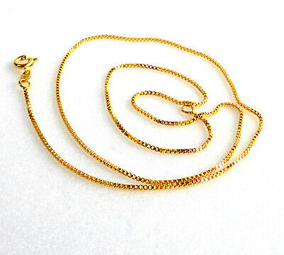 45cm 24K Yellow Gold Plated Xmas B'D Shiny Box Chain Necklace 1mm Thin Small