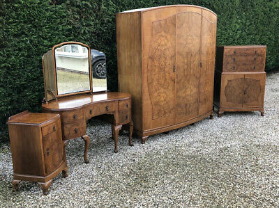 Rare Maples & Co Art Deco Walnut 4 Piece Bedroom Set Amazing Veneers We Deliver