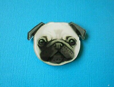 Cute Pug with Pink Toungue Acrylic Badge Gift Pin Brooch DogВLover Doggy TanВ