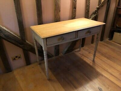 Pretty Victorian Pine Side or Console Table with Pitch pine top